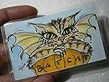 Katze als Fledermaus auf Kürbis Mini Bild handgemalt Original Miniatur laminiert