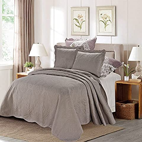 3 Piece Embroidered Quilted Poly Cotton Bedspread, Luxury Comforter Sets,