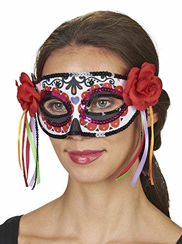 Andrea-Moden Damen Augenmaske Day of The Dead mit Rosen - Zum Halloween und - Tag Der Toten Für Erwachsene Standard Kostüm