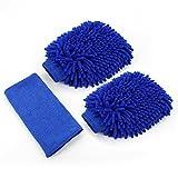 Almondcy auto pulizia in microfibra guanto–Confezione 2guanti con panno di pulizia migliore per auto pulizia per finestra e casa (blu)