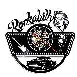 WANGXN Vinyl Wanduhr Rockmusik Gitarre Bar Hause Friseur Wanddekoration Wanduhren,Black,30Cm