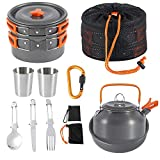Camping Cookware Kit Outdoor Aluminum Cooking Set for 2 to 3 People Non