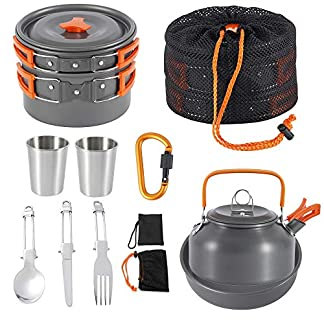 Jetcloud Camping Cookware Kit Outdoor Aluminum Cooking Set for 2 to 3 People Non Stick Folding Camping Pans and Pots Travelling Camping Hiking Picnic BBQ Orange 2