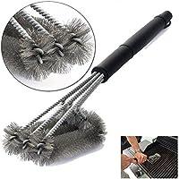 TOOGOO Barbecue Grill Cleaner 3 en 1 cabezales de alambre de acero BBQ Handle Cleaning Brush Tool