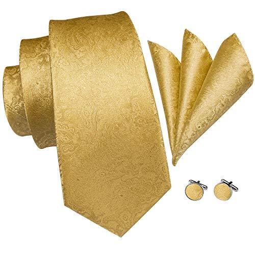 Hi-Tie - Corbata de oro para hombre con gemelos y corbata cuadrada...