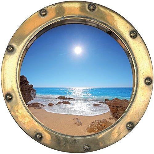 Youdesign adesivo trompe l' oeil window beach sun 30x 30cm 1442ref: