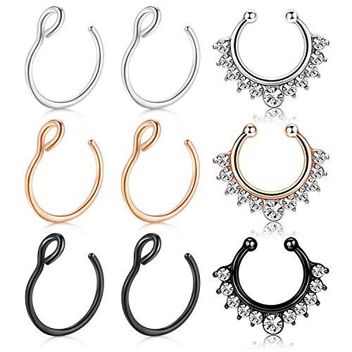 Vfun finto piercing naso anello septum piercing orecchio helix trago cartilage non-pierced clip on piercing naso 9 pezzi