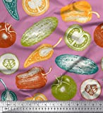 Soimoi Rosado terciopelo Tela tomate, pimiento y pepino vegetal estampada de tela por metro 58 Pulgadas de ancho