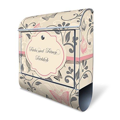 BANJADO Design Briefkasten mit Zeitungsfach, 2 Schlüssel, A4 Einwurf, silber pulverbeschichtet, mit Motiv WT Erwachen