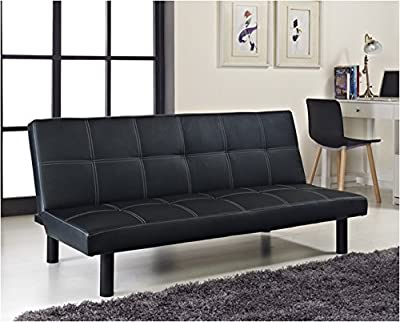 Single Faux Leather Sofa Bed in Black - Spencer Sofabed by Comfy Living