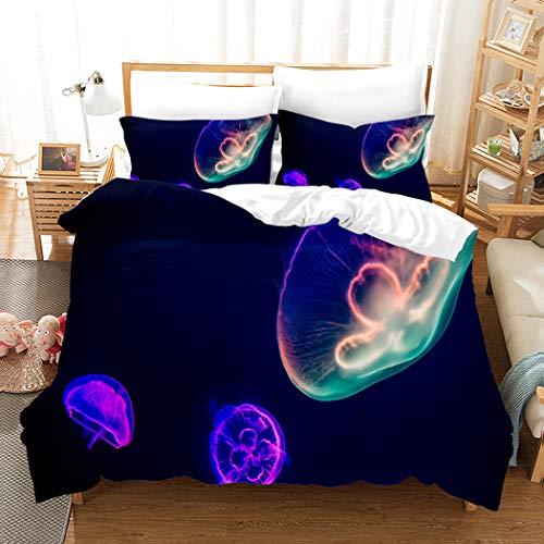 CHICKZ Quallen Meer Tier Bettwäsche Set Bettbezug Heimtextilien Für Erwachsene Lebensechte Bettwäsche Kissenbezug Tröster 3 Stück Bettwäsche (#5,AU King/210 * 245cm) -