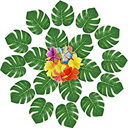 KUUQA 120 PCS Künstliche Tropical Blätter Blumen Dekoration Tropical Palm pflanzenblättern und Hibiskus Blumen für Sommer Hawaiianische Jungle Strand Thema Geburtstag Dekorationen Luau Party Supplies
