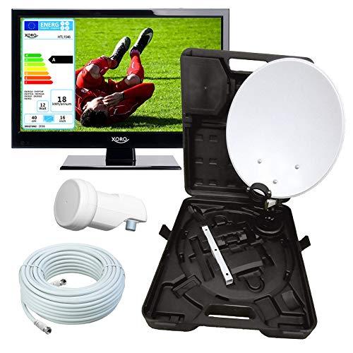 netshop 25 Wohnmobil Camping LED TV Fernseher 40 cm (16,5 Zoll) Xoro HTL 1546/60 + Camping SAT Koffer (HD, PVR Ready, Triple Tuner DVB S2 / T2 / C H.265 / HEVC-Decoder, 230V) 12V optional