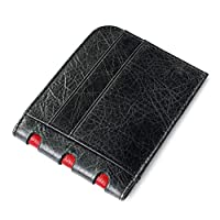 Slim Leather Wallet Sleeve Card Credit Card Case With Key Ring Oil Wax Leather