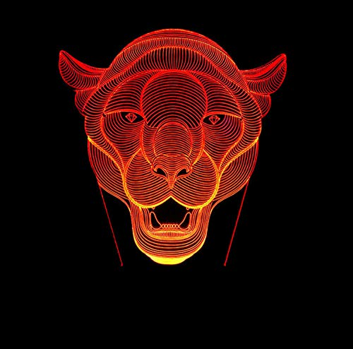 ZJFHL 3D Optische Illusions-Lampen Tiger Kopf Form 7 Farben Wählbar Dimmbare Touch Schalter Nachtlampe Geburtstag Geschenk, Frohe Weihnachten Geschenke Für Mädchen Männer Frauen Kinder