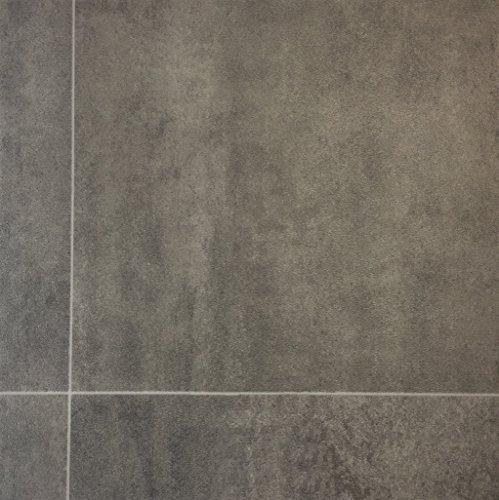 PVC-Boden in Fliesen-Optik & Steinoptik Grau | Muster | Vinylboden versch. Längen | Fußbodenheizung geeignet | PVC Platten strapazierfähig & pflegeleicht | robuster, rutschhemmender Fußboden-Belag