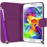 SUPERGETS Samsung Galaxy S5 Wallet Design Case, Screen Protector,Touch Screen Stylus And Polishing Cloth Purple ( Not compatible to Galaxy S4, S3)