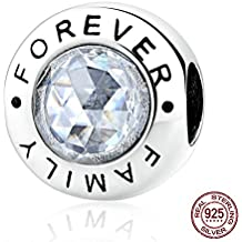Kiss Me Plata de Ley CZ Crystal Charm Beads Fits Pandora Chamilia y Troll pulseras, 11x 12mm, agujero: aproximadamente 5mm, Family Forever Bead