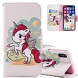 HMTECH iPhone XR Coque Mignonne Belle Licorne Rouge Housse PU Cuir Housse Coquille...