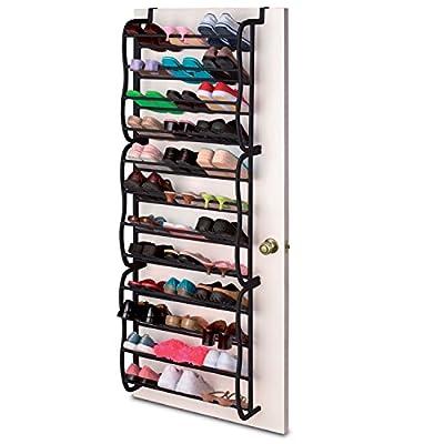 36 Pair Black Over the Door Hanging Hook 12 Tier Shoe Rack Shelf Organiser Holder Storage Stand
