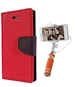 Aart Fancy Diary Card Wallet Flip Case Back Cover For Samsung J2 -(Red) + Mini Aux Wired Fashionable Selfie Stick Compatible for all Mobiles Phones By Aart Store