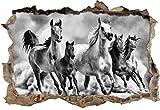 Monocrome, Western Pferde in Wüste mit Fohlen Wanddurchbruch im 3D-Look, Wand- oder Türaufkleber Format: 92x62cm, Wandsticker, Wandtattoo, Wanddekoration