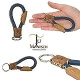 Echtleder Schlüsselanhänger in Handarbeit hergestellt! Schlüsselband aus Leder für Damen und Herren, Unisex - Farbe: Grau / braun