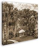deyoli Pavillon in Bezaubernder Landschaft in Florida im Format: 70x70 Effekt: Sepia als Leinwandbild, Motiv auf Echtholzrahmen, Hochwertiger Digitaldruck mit Rahmen, Kein Poster oder Plakat