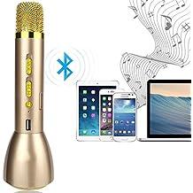 Microfono Bluetooth wireless YFeel ordini dynamics / Karaoke Player microfono a condensatore / sistema di Studio Kit microfono in modalit¨¤ remota per KTV educativo Visualizza compatibile con Smartphone Android, Apple Iphone, PC laptop, Tablet, d'oro