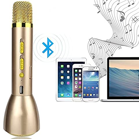 Drahtlos Bluetooth Mikrofon - Wireless Tragbare KTV Heim Karaoke Player Stereo-Player für PC Laptop iPhone iPod Android Smartphone mit Mic Speaker (Golden)