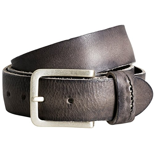 The Art of Belt by LINDENMANN Womens leather belt/Mens leather belt, premium full grain leather belt with ornament, Unisex, grey
