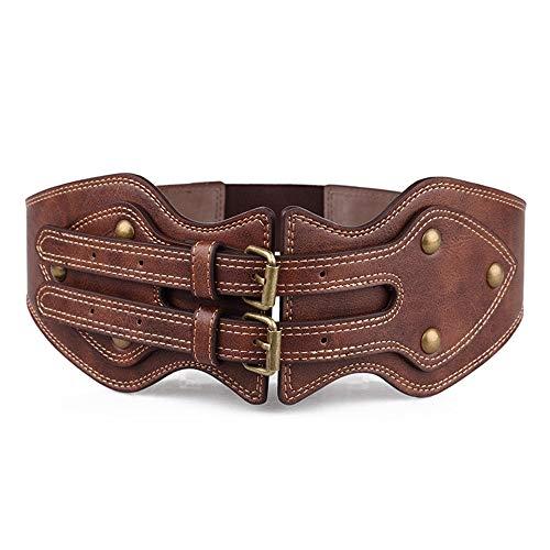 Junjiagao Leder Western Korsett Gürtel Stretch Elastische Breite Hohe Taille GürtelArmband Verziert Mit Niet Für Frauen Damen (Größe : S)