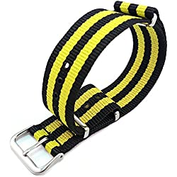 G10 Nato Black & Yellow Stripe Nylon Watch Strap 20mm