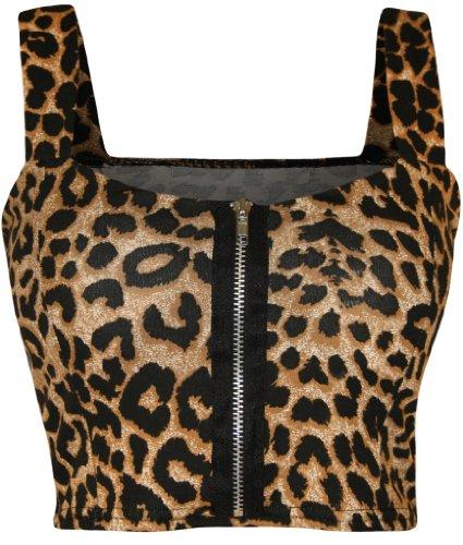 WearAll - Damen reißverschluss Bandeau Boobtube gepolsterte Trageriemen Crop Top Bralet - Leopard - 36-38 (Bandeau Star)