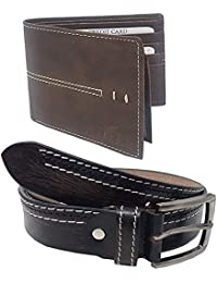 XPRA Men's & Boys Combo Pack Of Genuine Leather Belt For Jeans & Casual Wear & P U Leather Wallet-WL-BLT-15
