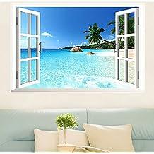 Skyllc® Grande Beach extraíble Mar Ventana Vista 3D Paisaje etiqueta de la pared