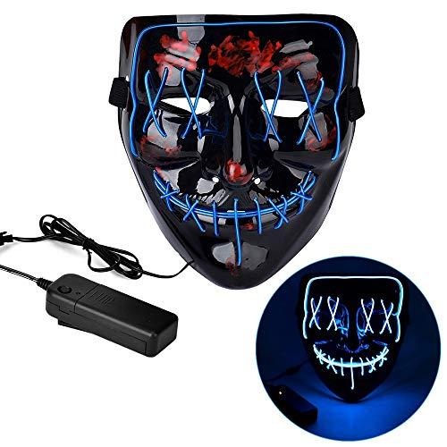 Queta Halloween Blinkende Purge LED Maske mit 3 Blitzmodi, EL Wire Glow Schädel Maske für Halloween Karneval Party Kostüm Cosplay Dekoration (Eisblau)