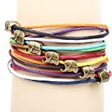 Gilind mehrschichtige gesponnene Freundschaftbonbonfarben kleine Elefant Perlen Armband (einschließlich einer Gilind bag)