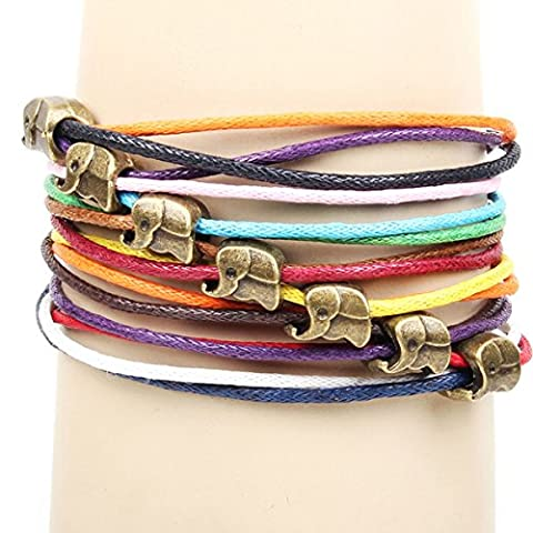 Gilind Multilayer woven friendship Candy colors small elephant beaded bracelet (including a Gilind bag)