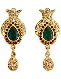 Touchstone Green & Golden Hanging Earrings For Women