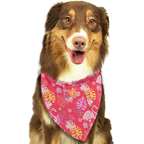 Sdltkhy Red Background Pink Flamingos Fashion Dog Bandana Haustierzubehör Easy Wash Scarf (Neck Schal Red Cowl)