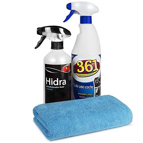 Sisbrill Kit de Limpieza Interior Sislim | Limpia y Acondiciona Salpicadero, Cuero-Piel, Asientos Tela | Acabado Mate&Natural