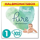 Pampers Pure Protection Windeln, Größe 1, 102 Windeln, 2-5 kg,...