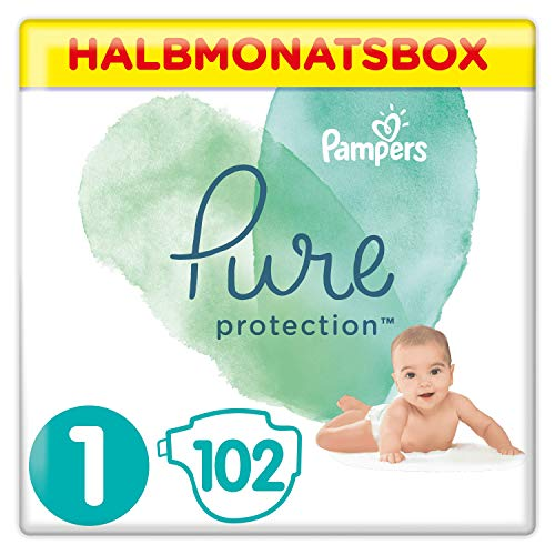 Pampers Pure Protection Windeln, Größe 1, 102 Windeln, 2-5 kg, Halbmonatsbox