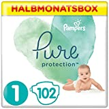 Pampers Pure Protection Windeln, Größe 1, 102 Windeln, 2-5 kg, Halbmonatsbox