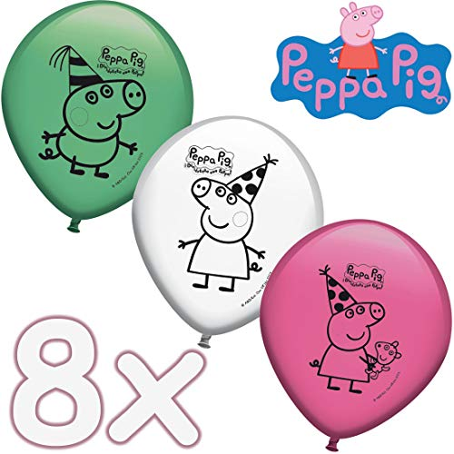 PeppaPig&Wutz: 8 Ballons * Peppa Pig * Décoration pour Anniversaire d'enfant et fête à thème | Ballons avec Expression | Anniversaire