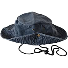 Unisex Mens Ladies Safari Outback Australian Style 100% Cotton Bush Hat With Wide Brim, Chin Strap, Both Sides Snap Up And Air Vents