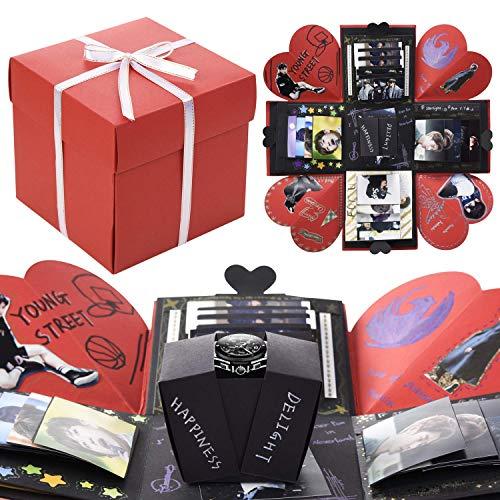 VEESUN Caja de Regalo Creative Explosion con Embalaje de PVC Caja de Foto Sorpresa DIY Álbum de Fotos Memories para Aniversario de Boda Cumpleaños Navidad para Mujer Niña Novios Novia Regalos, Rojo