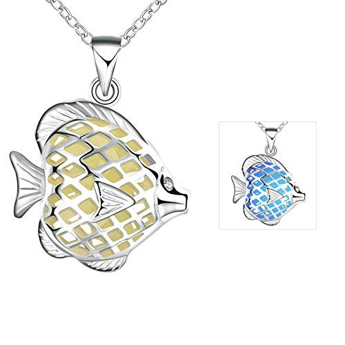 Aooaz Damen/Herren Kette Edelstahl Cyane Clownfischform Leuchtschmuck - (Ohrringe Trachten Kurze Zahn)