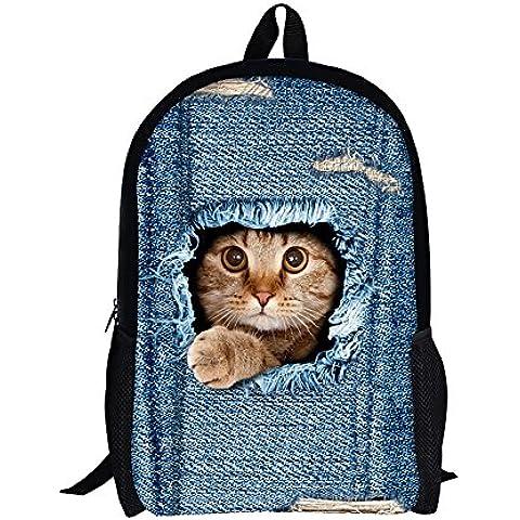 Moolecole Unisex 3D Patrones De Gato Daypack Del Morral De Las Muchachas De Bolsas De Hombro Ocasional Patrones Bolsa De Escuela De La Mochila De Dibujos Animados Perfecto Para La Escuela Y